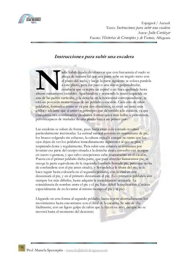 Julio Cortázar Instrucciones Para Subir Una Escalera Historias De