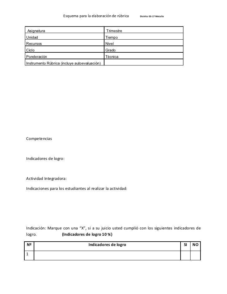 Esquema para la elaboración de rúbrica   Distrito 03-17 MetalíoAsignatura                                     TrimestreUni...