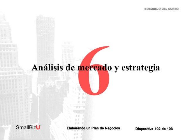 BOSQUEJO DEL CURSO  6  Análisis de mercado y estrategia  SmallBizU  ™  Elaborando un Plan de Negocios  Diapositiva 102 de ...
