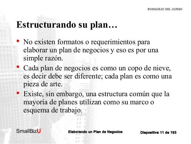 BOSQUEJO DEL CURSO  Estructurando su plan…  No existen formatos o requerimientos para elaborar un plan de negocios y eso ...
