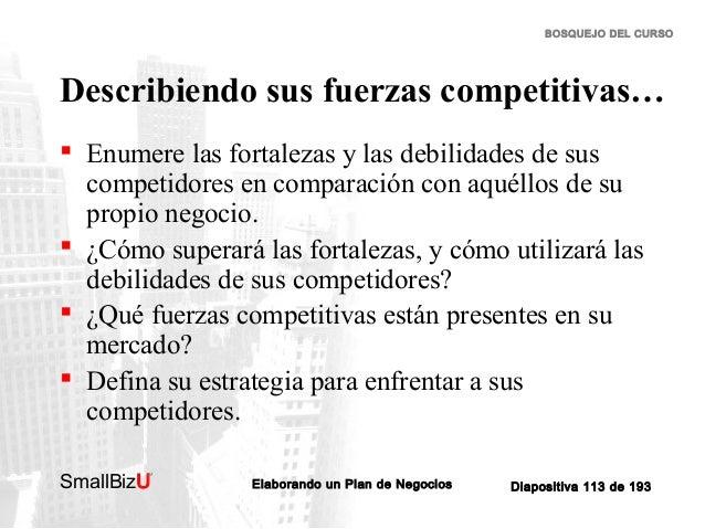 BOSQUEJO DEL CURSO  Describiendo sus fuerzas competitivas…  Enumere las fortalezas y las debilidades de sus competidores ...