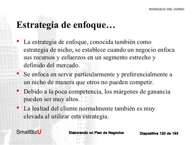 BOSQUEJO DEL CURSO  Estrategia de enfoque…  La estrategia de enfoque, conocida también como estrategia de nicho, se estab...