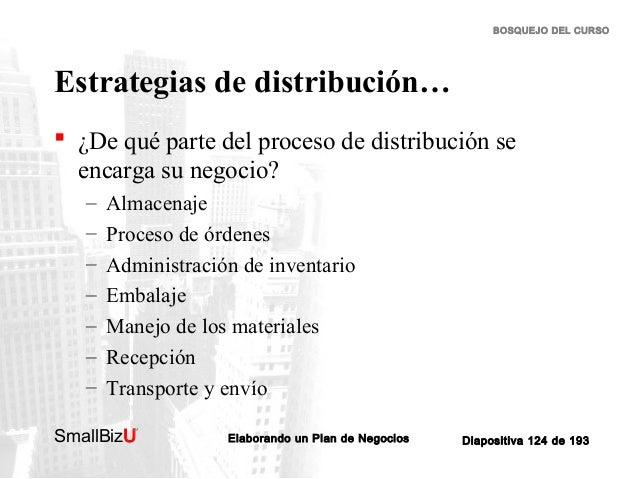 BOSQUEJO DEL CURSO  Estrategias de distribución…  ¿De qué parte del proceso de distribución se encarga su negocio? – – – ...