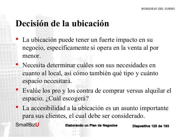 BOSQUEJO DEL CURSO  Decisión de la ubicación  La ubicación puede tener un fuerte impacto en su negocio, específicamente s...