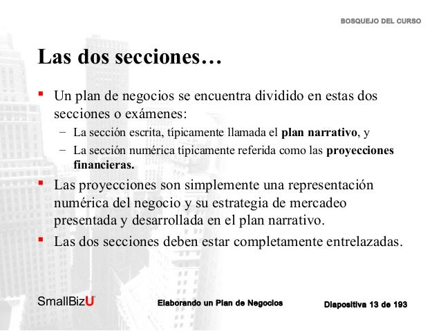 BOSQUEJO DEL CURSO  Las dos secciones…  Un plan de negocios se encuentra dividido en estas dos secciones o exámenes: – La...