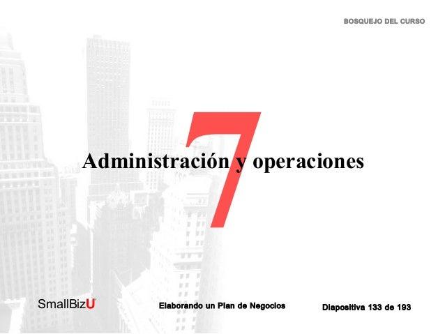 BOSQUEJO DEL CURSO  7  Administración y operaciones  SmallBizU  ™  Elaborando un Plan de Negocios  Diapositiva 133 de 193