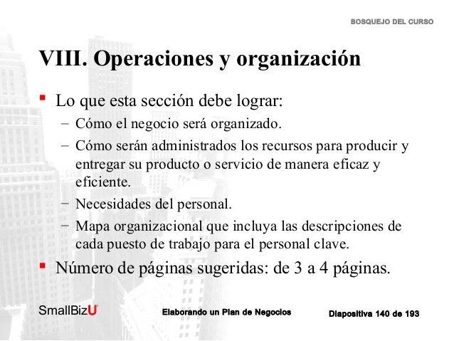 BOSQUEJO DEL CURSO  VIII. Operaciones y organización  Lo que esta sección debe lograr: – Cómo el negocio será organizado....