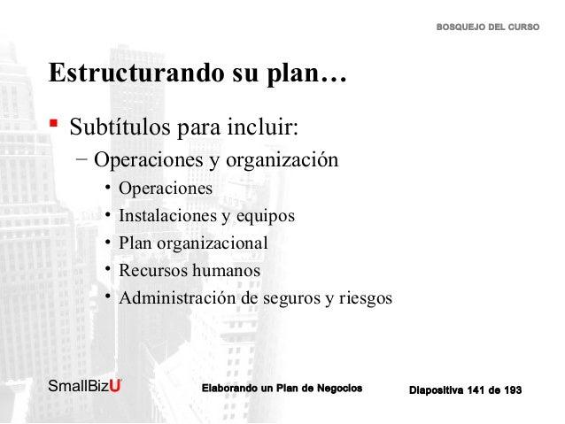BOSQUEJO DEL CURSO  Estructurando su plan…  Subtítulos para incluir: – Operaciones y organización • • • • •  Operaciones ...