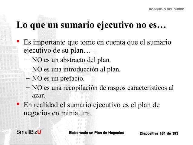BOSQUEJO DEL CURSO  Lo que un sumario ejecutivo no es…  Es importante que tome en cuenta que el sumario ejecutivo de su p...