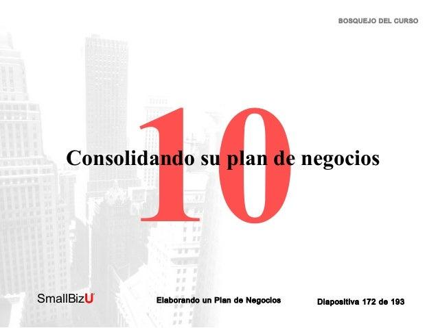 BOSQUEJO DEL CURSO  10  Consolidando su plan de negocios  SmallBizU  ™  Elaborando un Plan de Negocios  Diapositiva 172 de...