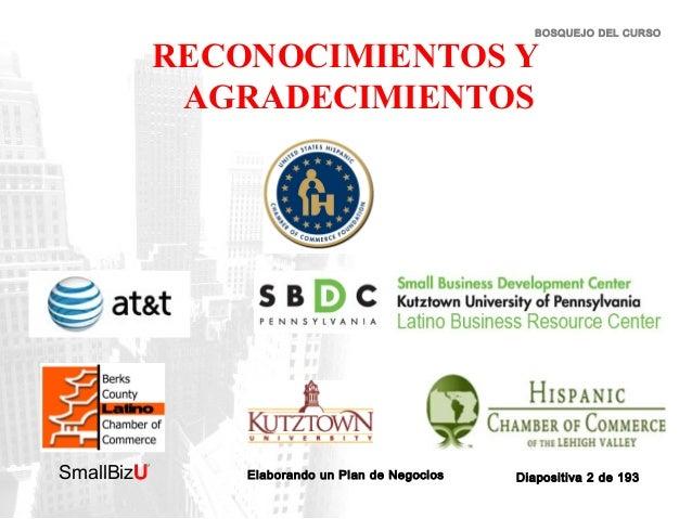 BOSQUEJO DEL CURSO  RECONOCIMIENTOS Y AGRADECIMIENTOS  SmallBizU  ™  Elaborando un Plan de Negocios  Diapositiva 2 de 193