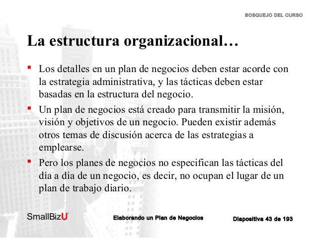 BOSQUEJO DEL CURSO  La estructura organizacional…  Los detalles en un plan de negocios deben estar acorde con la estrateg...