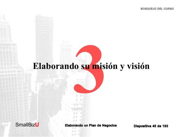 BOSQUEJO DEL CURSO  3  Elaborando su misión y visión  SmallBizU  ™  Elaborando un Plan de Negocios  Diapositiva 45 de 193