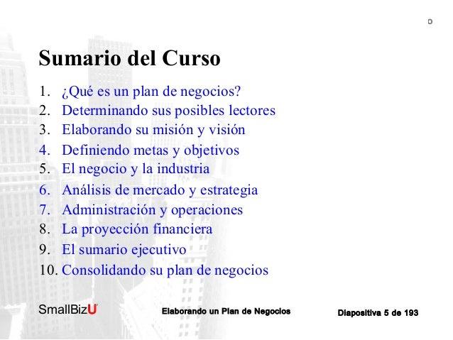 BOSQUEJO DEL CURSO  Sumario del Curso 1. ¿Qué es un plan de negocios? 2. Determinando sus posibles lectores 3. Elaborando ...