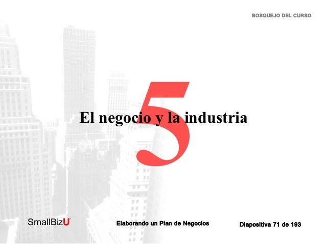 BOSQUEJO DEL CURSO  5  El negocio y la industria  SmallBizU  ™  Elaborando un Plan de Negocios  Diapositiva 71 de 193