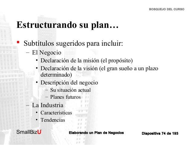 BOSQUEJO DEL CURSO  Estructurando su plan…  Subtítulos sugeridos para incluir: – El Negocio • Declaración de la misión (e...