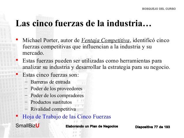 BOSQUEJO DEL CURSO  Las cinco fuerzas de la industria…  Michael Porter, autor de Ventaja Competitiva, identificó cinco fu...
