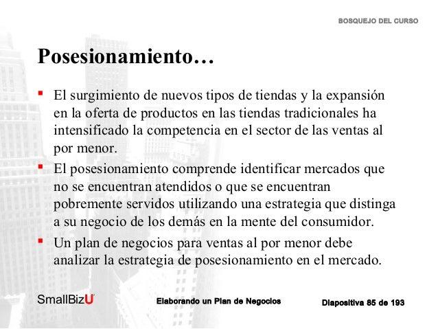 BOSQUEJO DEL CURSO  Posesionamiento…  El surgimiento de nuevos tipos de tiendas y la expansión en la oferta de productos ...