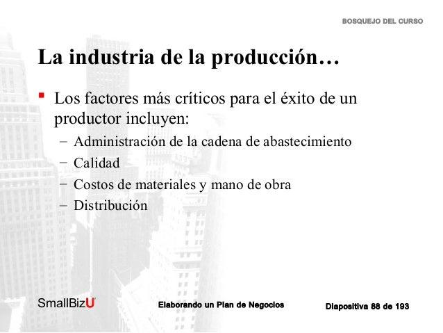 BOSQUEJO DEL CURSO  La industria de la producción…  Los factores más críticos para el éxito de un productor incluyen: – –...