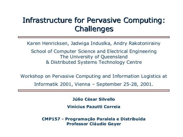 Infrastructure for Pervasive Computing:Infrastructure for Pervasive Computing: ChallengesChallenges Júlio César Silvello V...