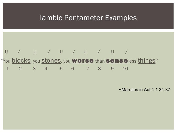 iambic pentameter poetry Find out information about iambic hexameter  which contains eight iambic pentameters pentameter  in russian poetry, iambic hexameter.