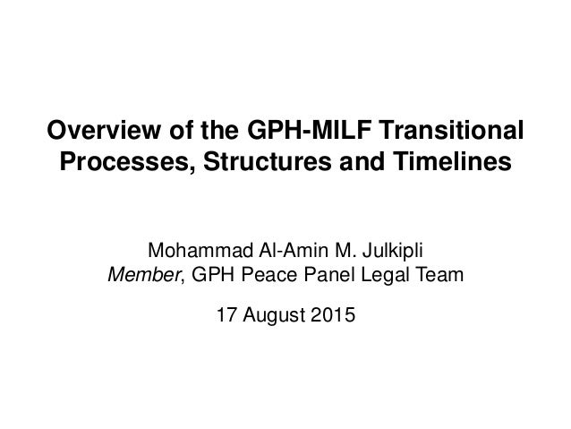 Overview of the GPH-MILF Transitional Processes, Structures and Timelines Mohammad Al-Amin M. Julkipli Member, GPH Peace P...