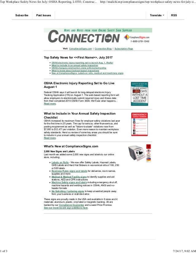 Visit: ComplianceSigns.com | Connection Blog | Subscription Page Top Safety News for <<First Name>>, July 2017 OSHA electr...