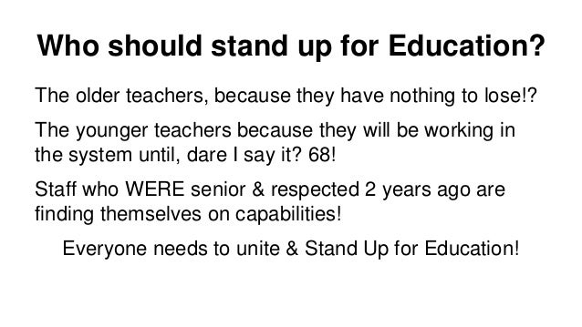Fast forward to September 2014 ● Schools will receive 1% extra but they will not have to give it to all staff ● Will cuts ...