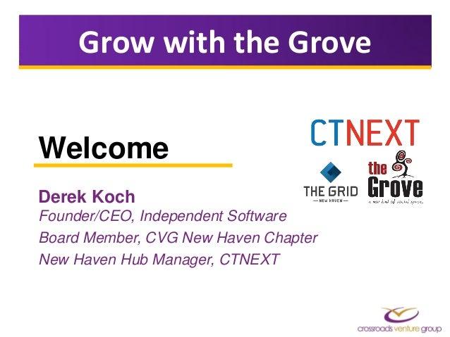 Welcome Derek Koch Founder/CEO, Independent Software Board Member, CVG New Haven Chapter New Haven Hub Manager, CTNEXT Gro...