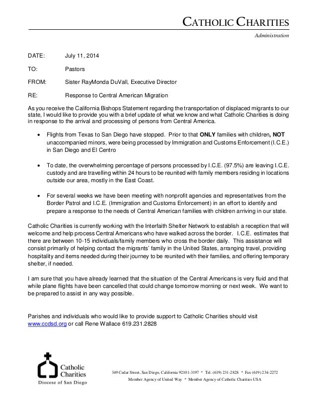 CATHOLIC CHARITIES Administration DATE: July 11, 2014 TO: Pastors FROM: Sister RayMonda DuVall, Executive Director RE: Res...