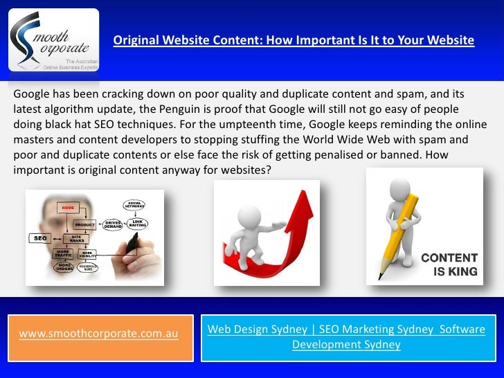 Original Website Content: How Important Is It to Your WebsiteGoogle has been cracking down on poor quality and duplicate c...