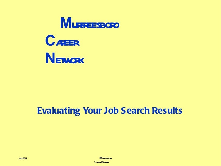 M urfreesboro    C areer    N etwork Evaluating Your Job Search Results