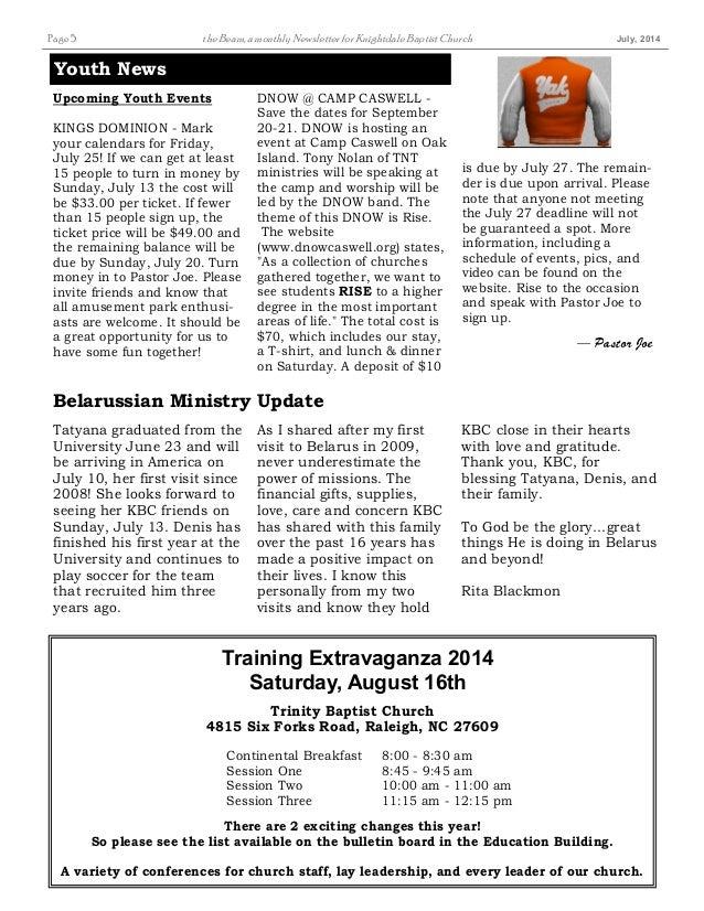 Knightdale Baptist Church July 14 newsletter