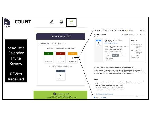 COUNT Send Test Calendar Invite Review RSVP's Received 11