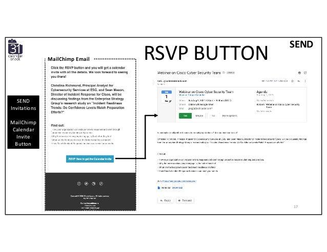 SEND Invitations MailChimp Calendar Invite Button RSVP BUTTON SEND MailChimp Email 17