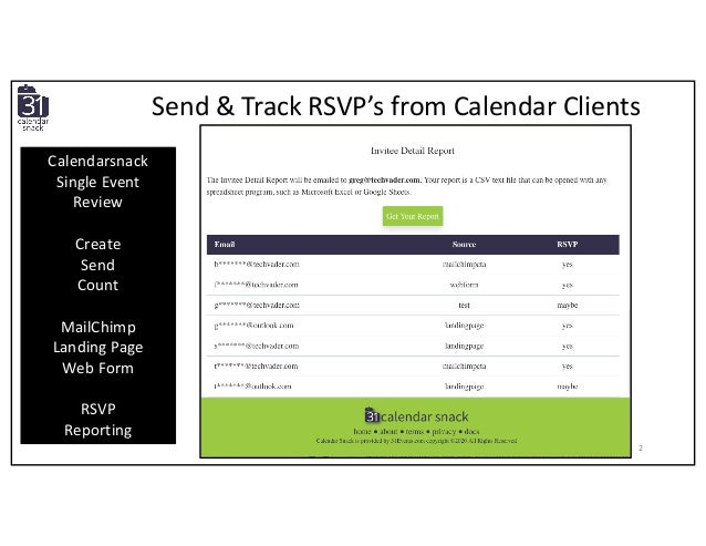 Send & Track RSVP's from Calendar Clients Calendarsnack Single Event Review Create Send Count MailChimp Landing Page Web F...