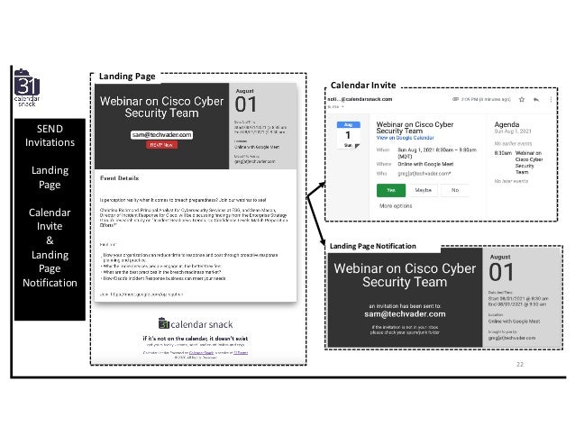 SEND Invitations Landing Page Calendar Invite & Landing Page Notification sam@techvader.com Landing Page Calendar Invite L...