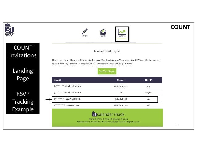 COUNT Invitations Landing Page RSVP Tracking Example COUNT 23
