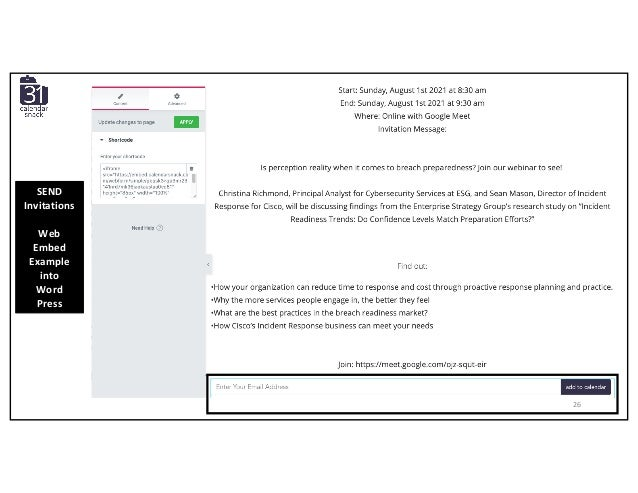 SEND Invitations Web Embed Example into Word Press 26