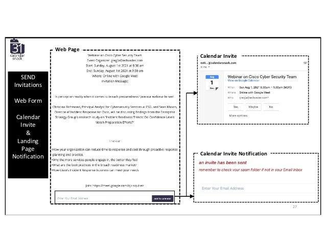 Calendar Invite Calendar Invite Notification Web Page SEND Invitations Web Form Calendar Invite & Landing Page Notificatio...