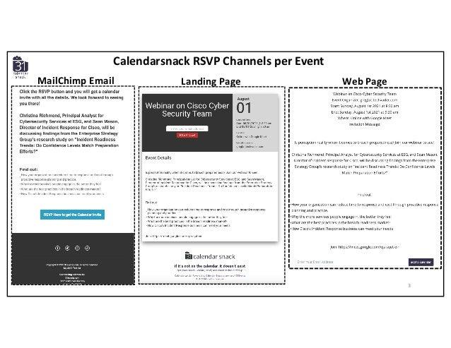 Calendarsnack RSVP Channels per Event Landing Page Web PageMailChimp Email 3