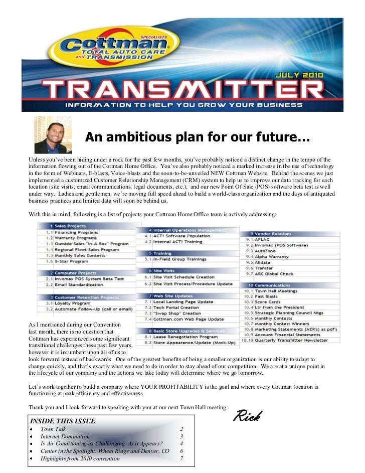 Cottman Internal Newsletter Sample Q2 2010