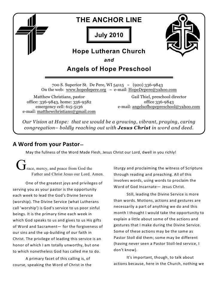THE ANCHOR LINE                                                 July 2010                                   Hope Lutheran ...