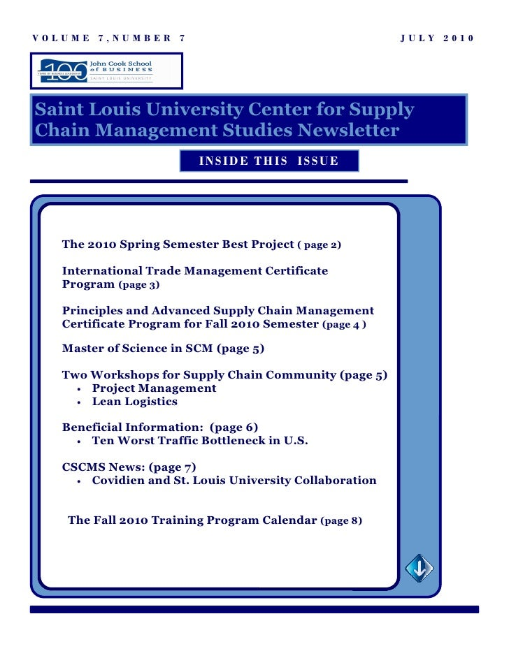 July 2010 Center for Supply Chain Management Research