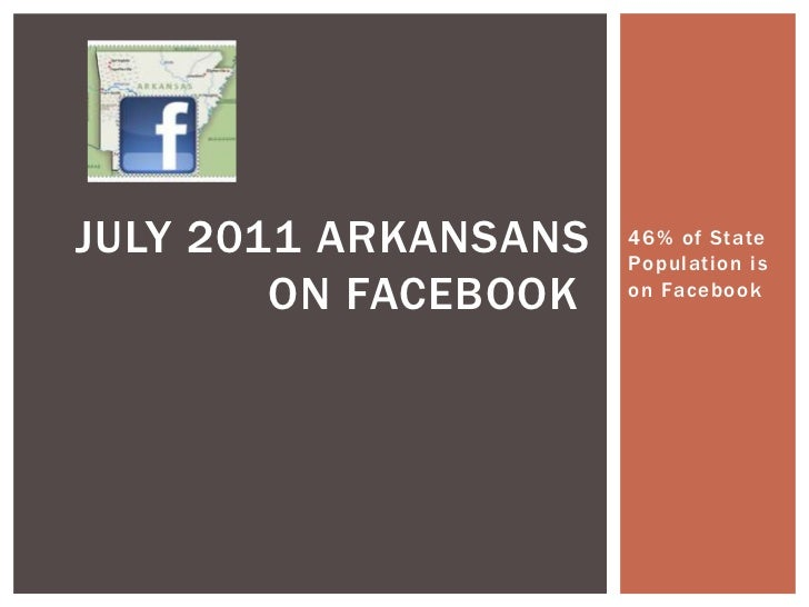 46% of State Population is on Facebook<br />July 2011 arkansans on facebook<br />