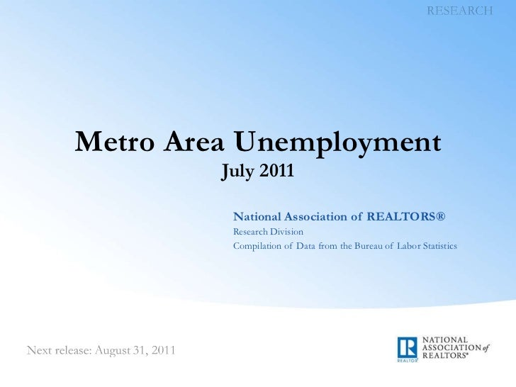 Metro Area Unemployment July 2011 National Association of REALTORS® Research Division Compilation of Data from the Bureau ...
