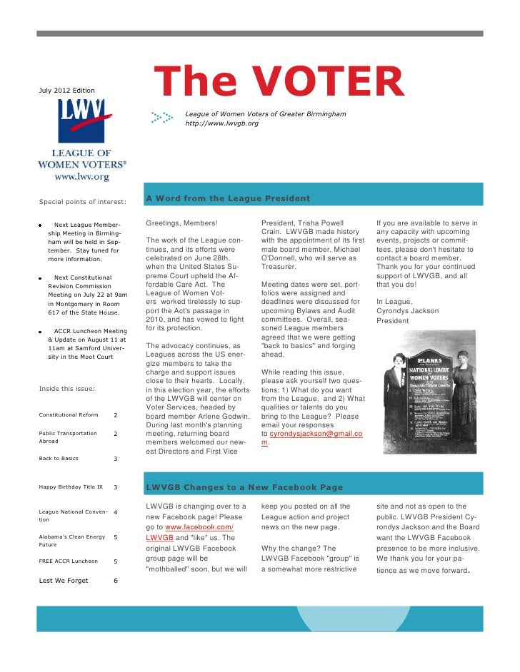 July 2012 Edition                The VOTER                                           League of Women Voters of Greater Bir...