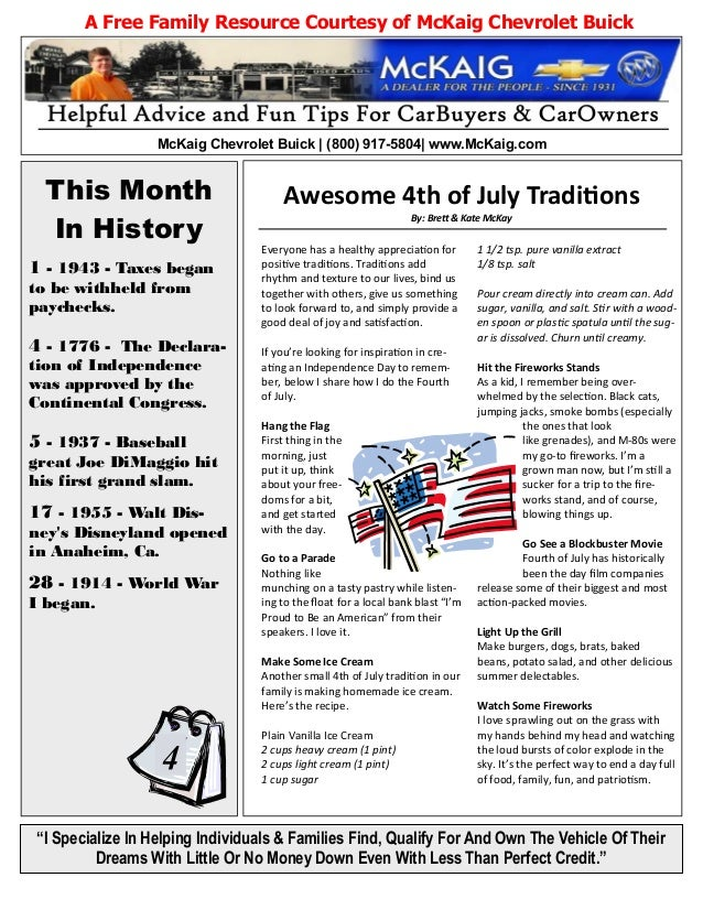 """This Month In History A Free Family Resource Courtesy of McKaig Chevrolet Buick """"I Specialize In Helping Individuals & Fam..."""