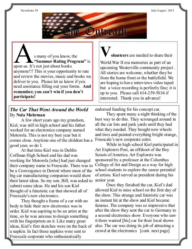 """TheTheThe OutreachOutreachOutreach Newsletter 58 July/August 2013 As many of you know, the """"Summer Rating Program"""" is upon..."""