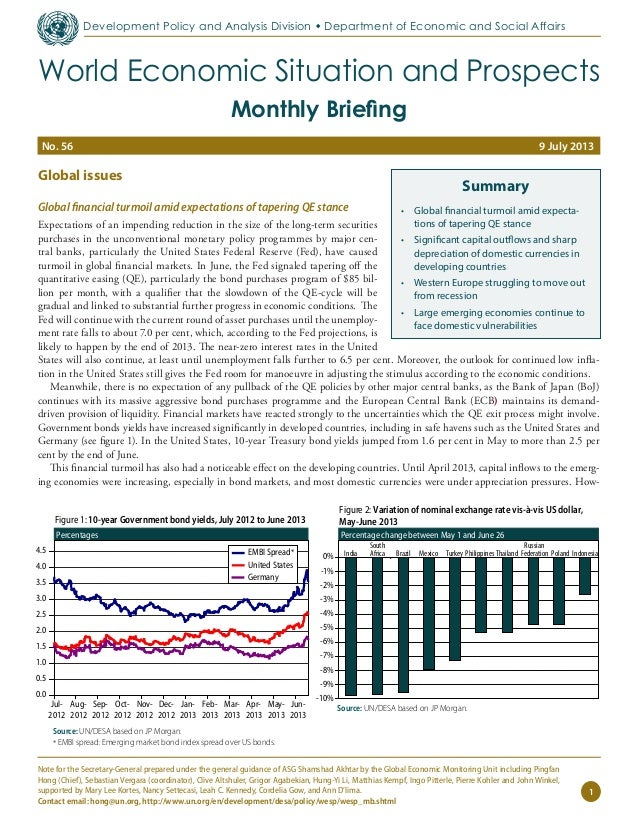 Global issues Global financial turmoil amid expectations of tapering QE stance Expectations of an impending reduction in t...